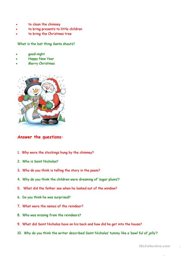 'Twas the night before Christmas - comprehension questions worksheet - Free ESL printable ...