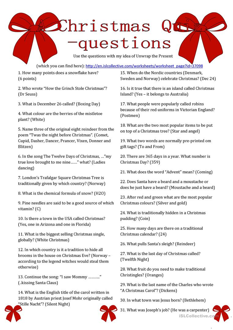 image relating to Christmas Carol Trivia Printable referred to as A Xmas Quiz Queries - English ESL Worksheets