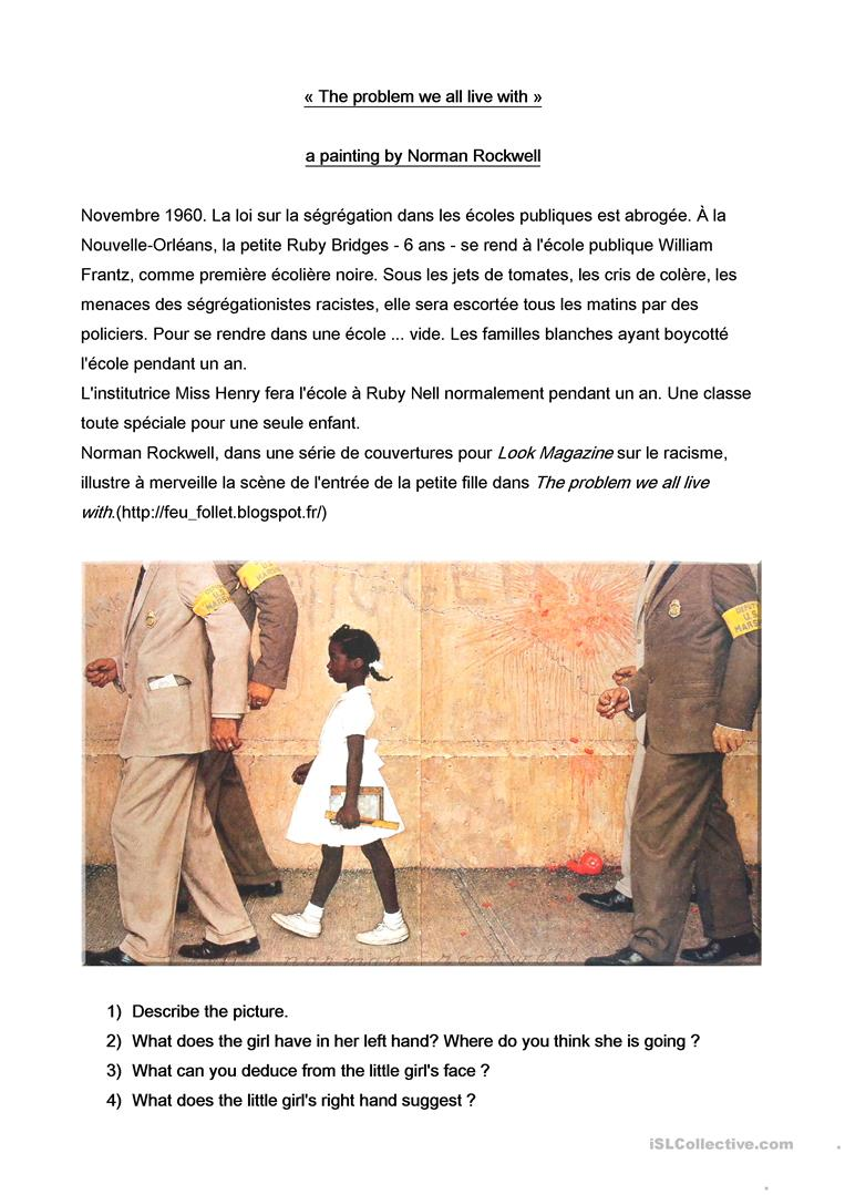 worksheet Civil Rights Movement Worksheets 5 free esl civil rights movement worksheets a painting by norman rockwell with questions