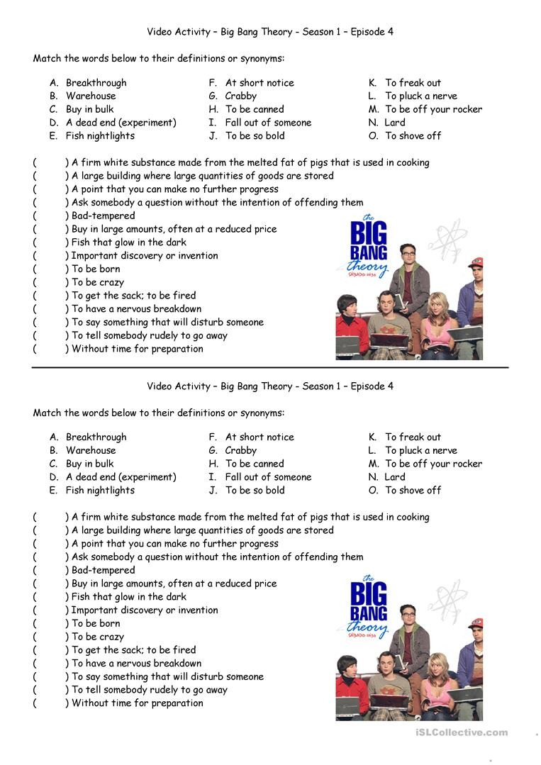 worksheet Theory Worksheets For Beginning Bands 16 free esl the big bang theory worksheets luminous fish