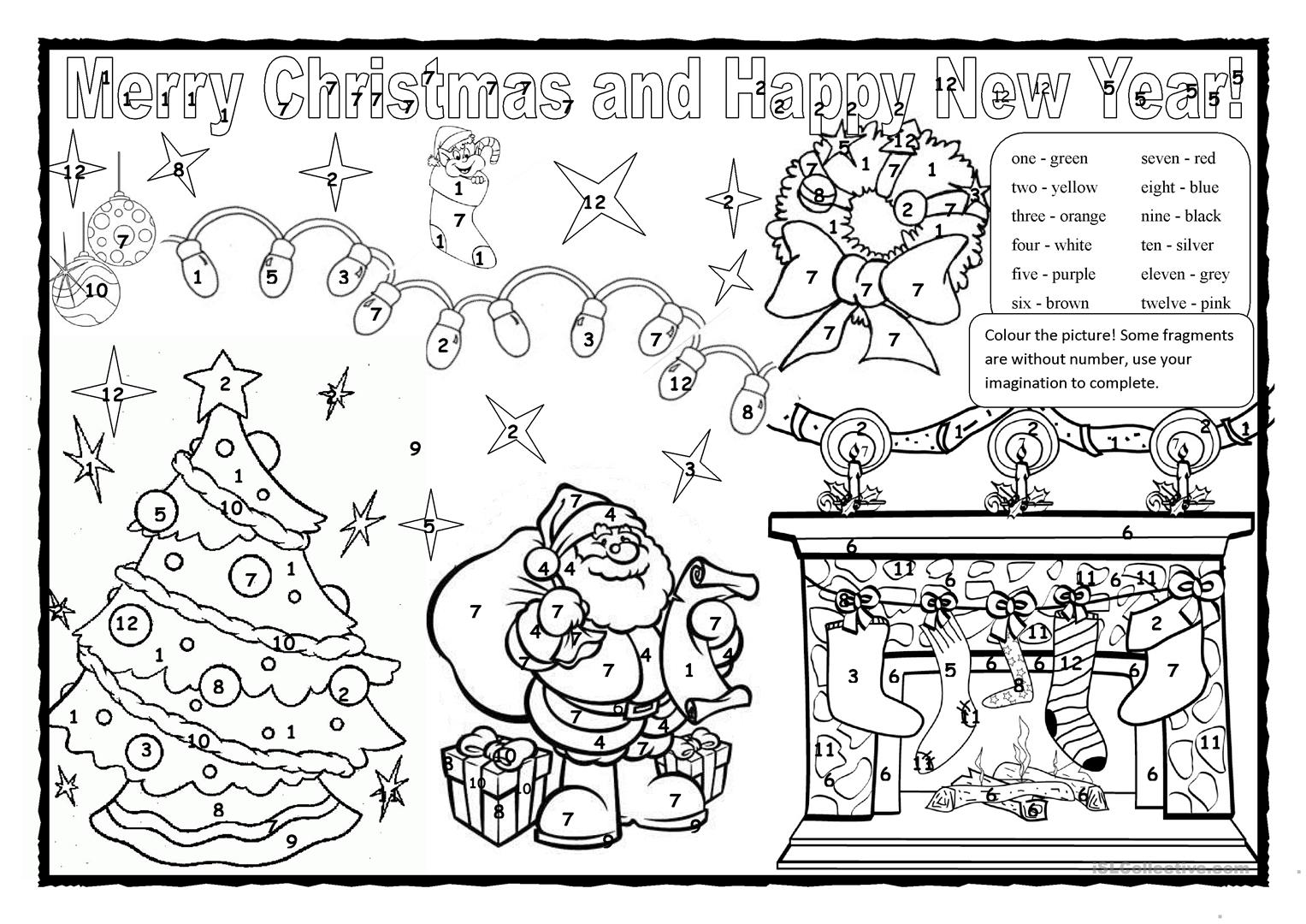 Christmas Pictures To Colour.Christmas Colouring 2 English Esl Worksheets