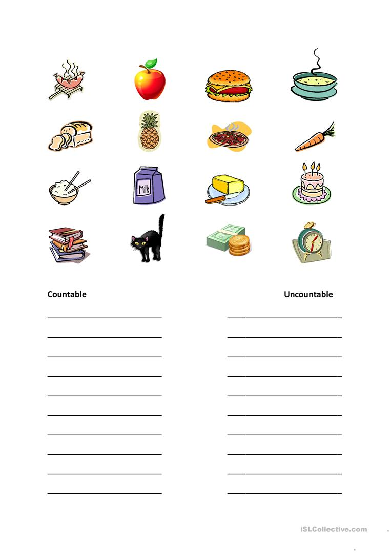 Countable and Uncountable nouns worksheet - Free ESL printable worksheets made by teachers