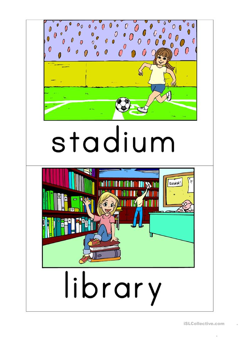 Flashcards places in the city worksheet - Free ESL printable ...