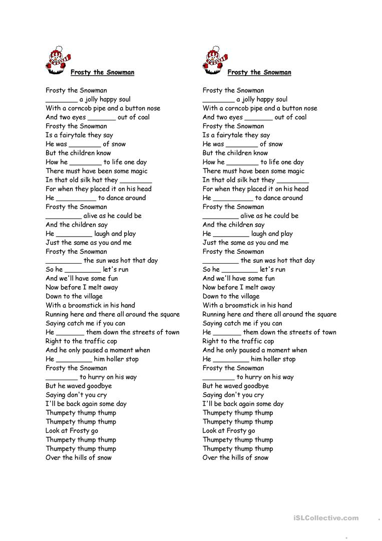 image about Frosty the Snowman Lyrics Printable referred to as frosty the snowman hole fill - English ESL Worksheets