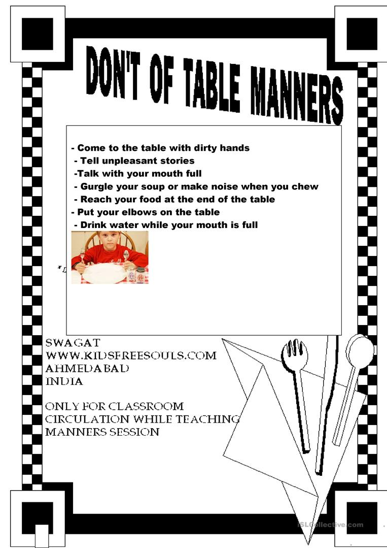 Good Table Manners Worksheet Free Esl Printable Worksheets Made By