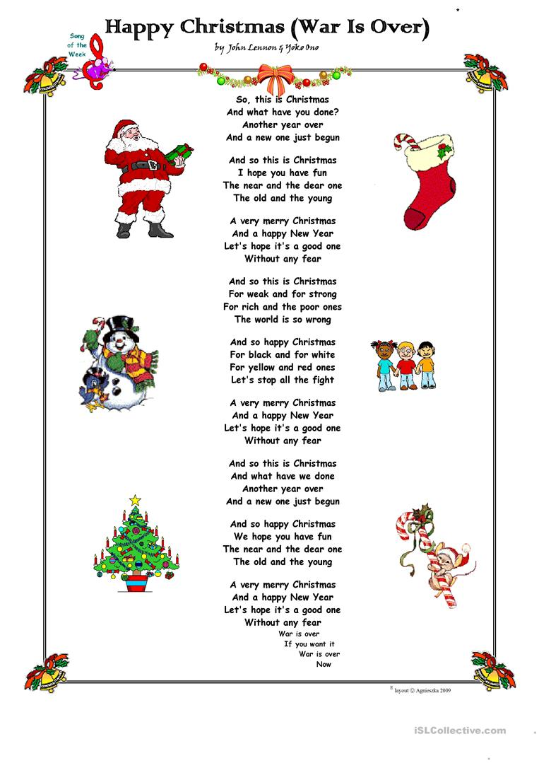 Happy Christmas (War Is Over) by John Lennon. worksheet - Free ESL ...