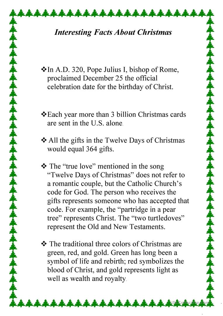 Interesting Facts About Christmas worksheet - Free ESL printable ...