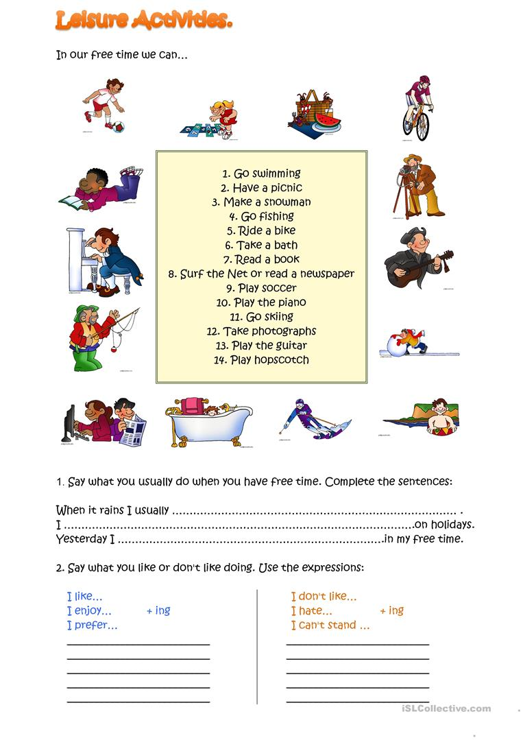 Leisure activities worksheet free esl printable for Gardening tools list pdf