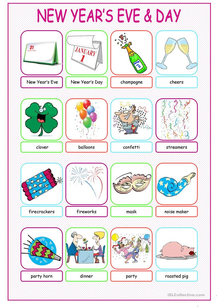 New Year's Eve &Day Pictionary worksheet - Free ESL ...