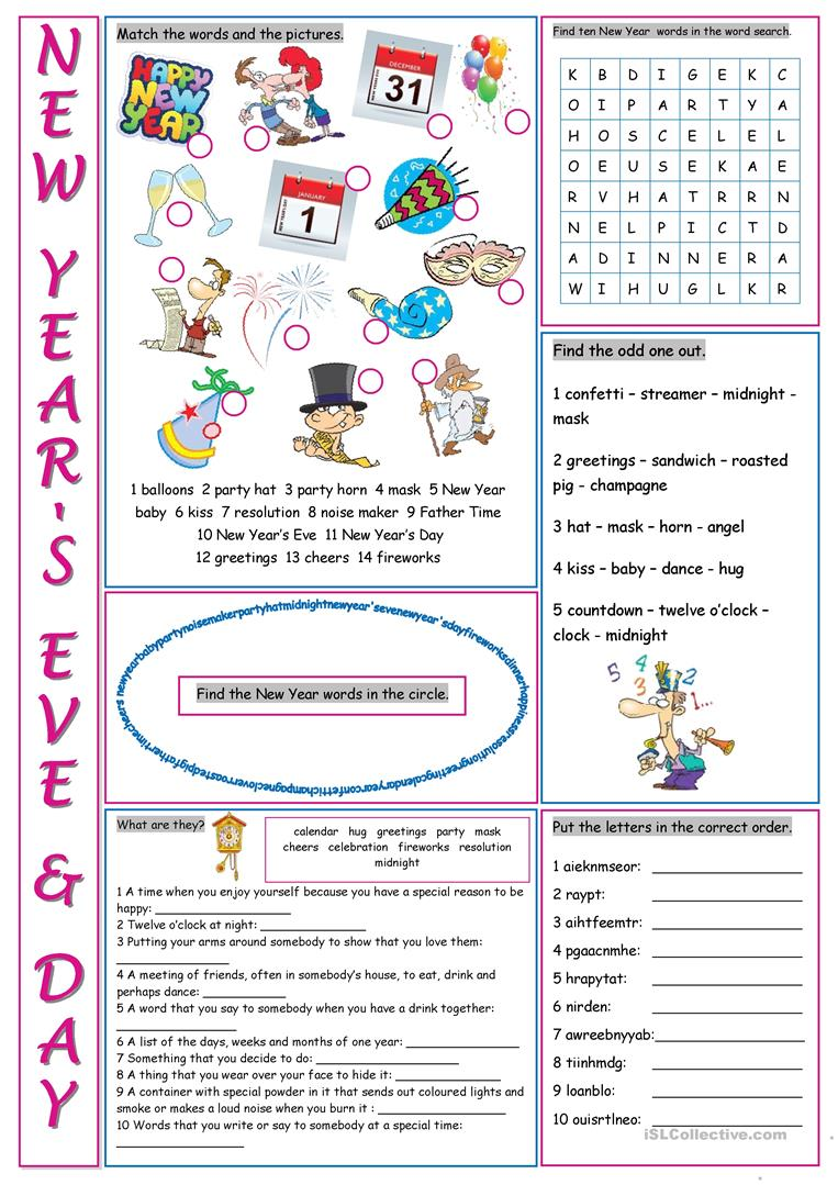 photograph about New Year's Worksheets Printable named Clean Yrs Eve Working day Vocabulary Exercise routines - English ESL