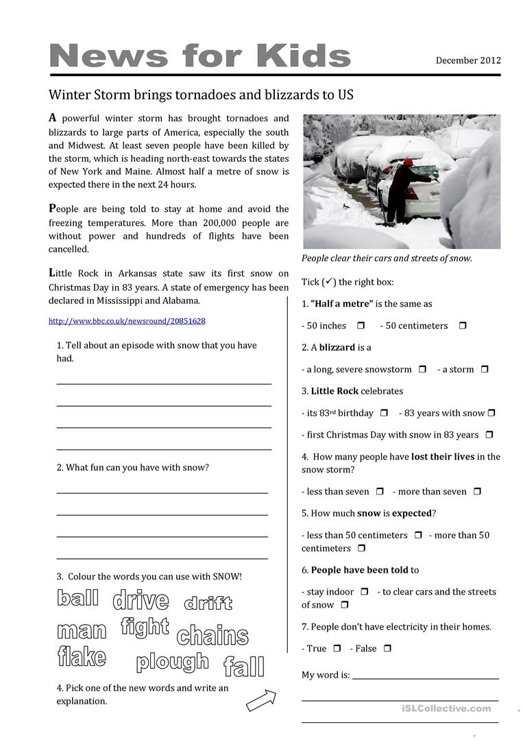 72 FREE ESL snow worksheets