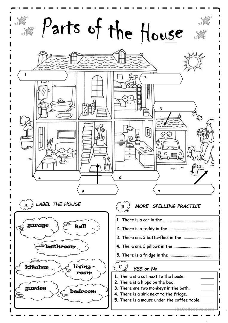 Parts of the house worksheet free esl printable for Balcony meaning in english