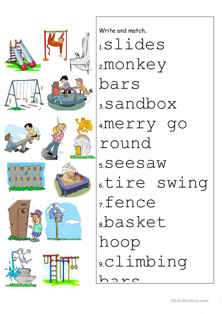 playground match worksheet free esl printable worksheets made by teachers. Black Bedroom Furniture Sets. Home Design Ideas