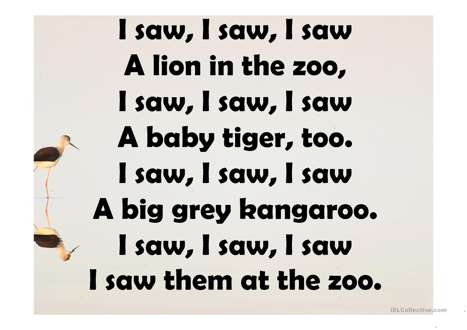 Tiger In The Zoo Poem Ppt Best Image Konpax 2017
