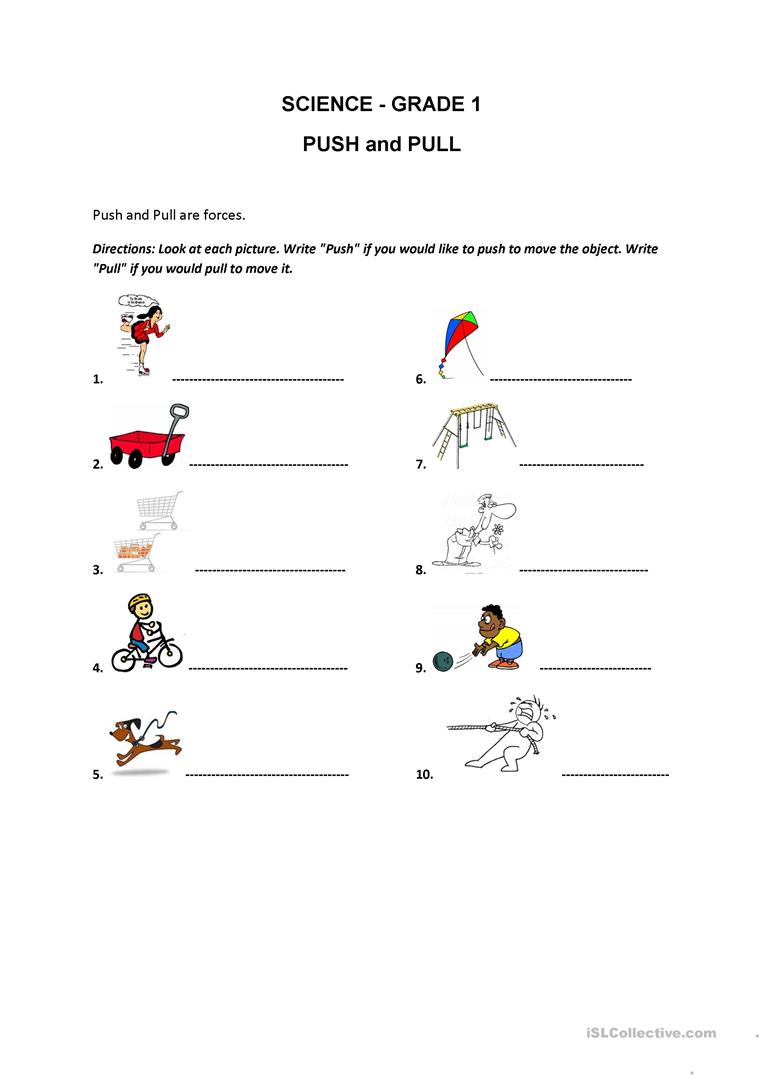 worksheet Pull And Push Worksheet push and pull worksheet free esl printable worksheets made by teachers full screen