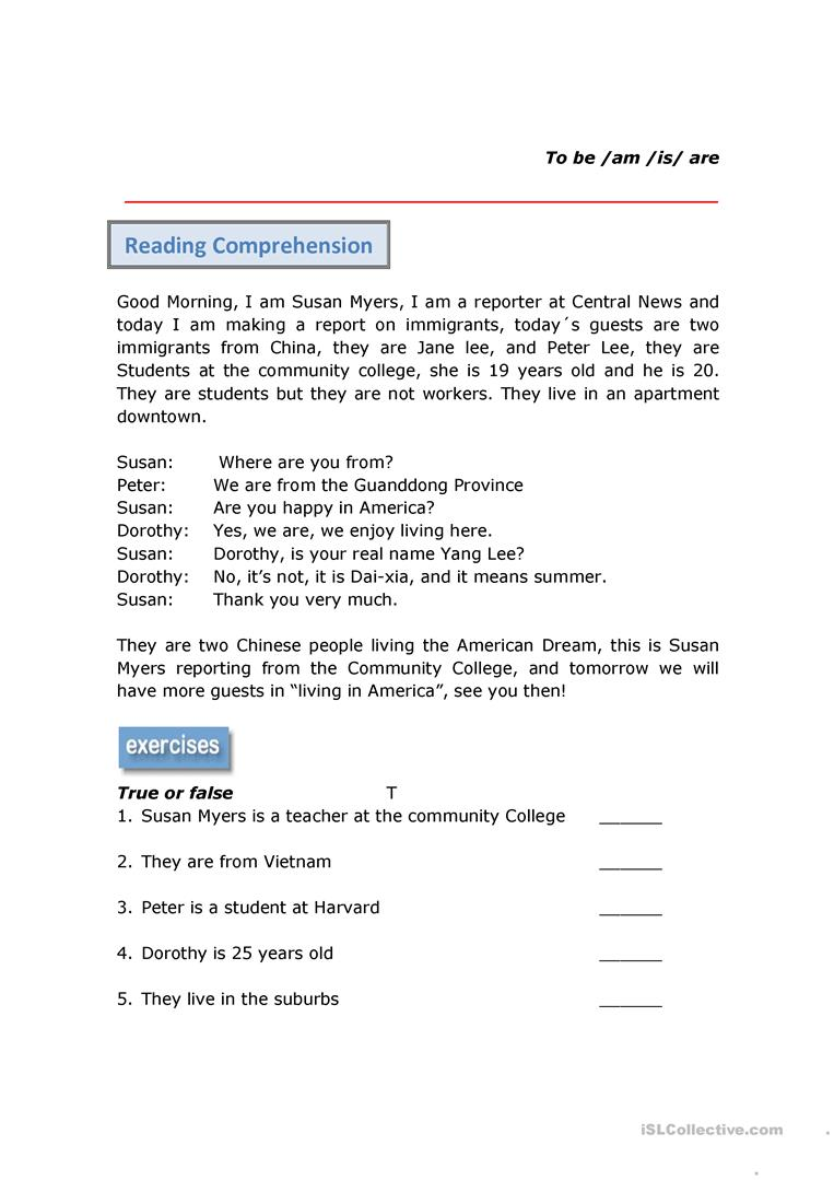 - Reading Comprehension Verb To Be - English ESL Worksheets For
