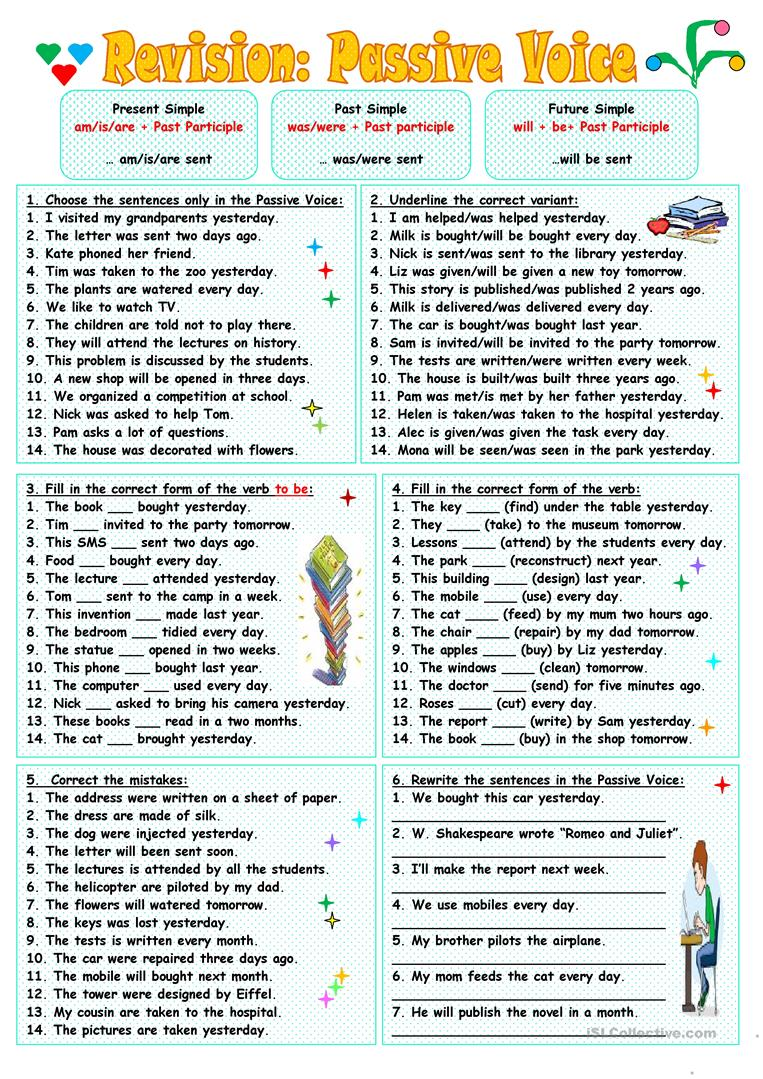 worksheet Passive Voice Worksheet revisionpassive voice worksheet free esl printable worksheets full screen