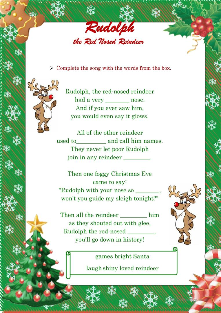 photo relating to Words to Rudolph the Red Nosed Reindeer Printable referred to as Rudolph the Pink Nosed Reindeer- Music! (BW integrated