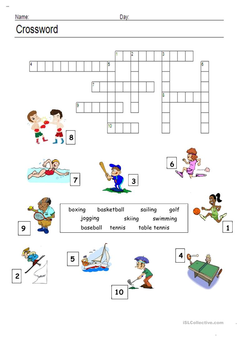 graphic about Sports Crossword Puzzles Printable named Athletics - Crossword - English ESL Worksheets