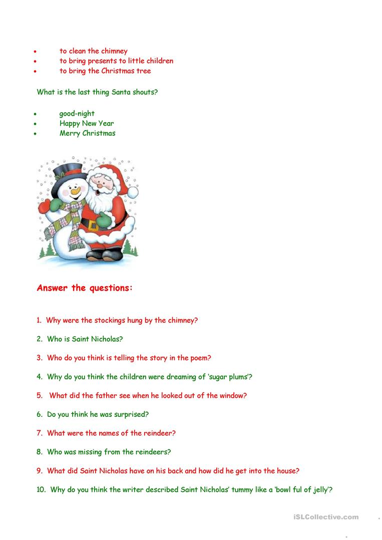 twas the night before christmas comprehension questions twas the night before christmas printable book twas the night before christmas printable coloring ...