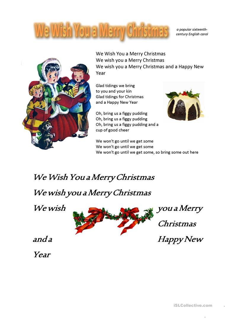 We Wish You A Merry Christmas Song.We Wish You A Merry Christmas English Esl Worksheets