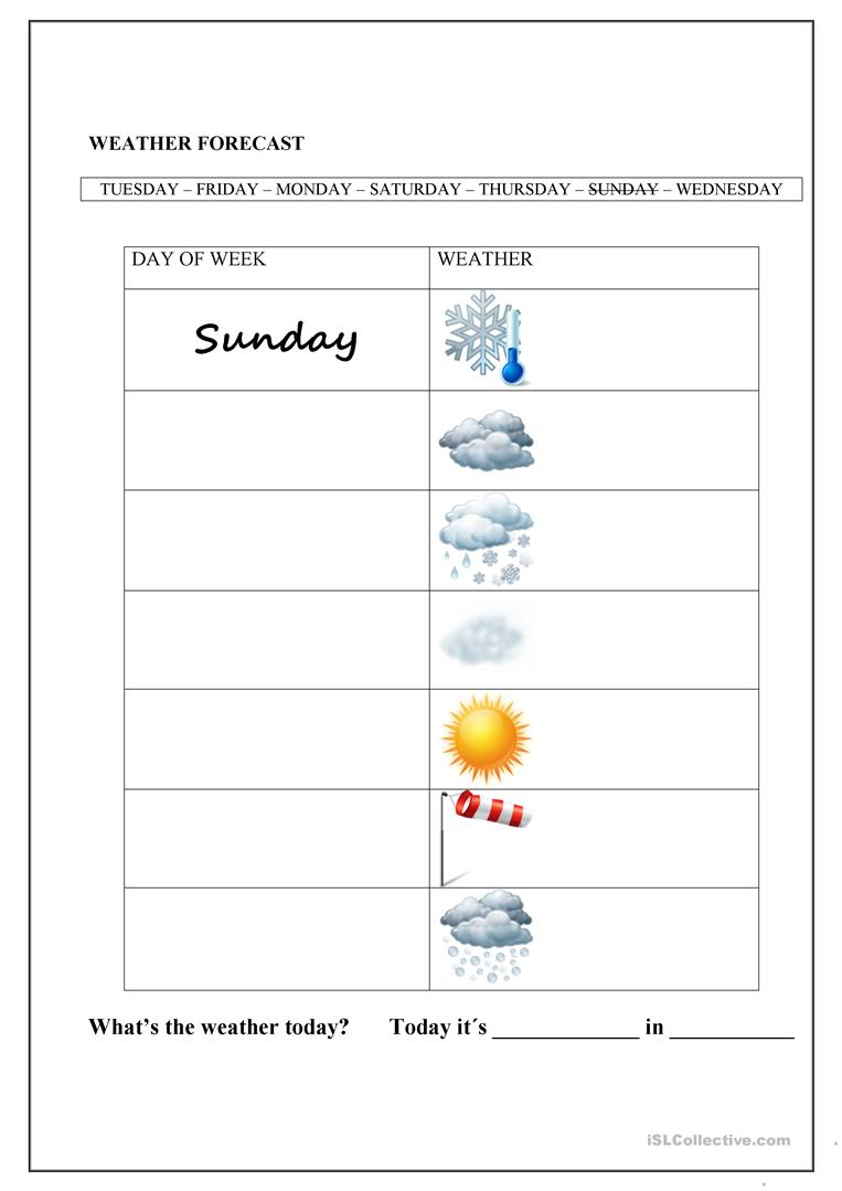 weather forecast and days of the week worksheet free esl printable worksheets made by teachers. Black Bedroom Furniture Sets. Home Design Ideas