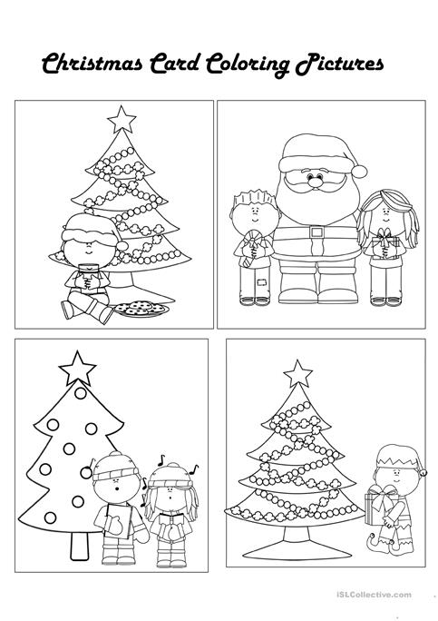 color your own christmas cards worksheet free esl printable