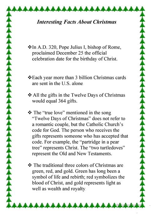 Interesting Facts About Christmas Worksheet Free Esl Printable