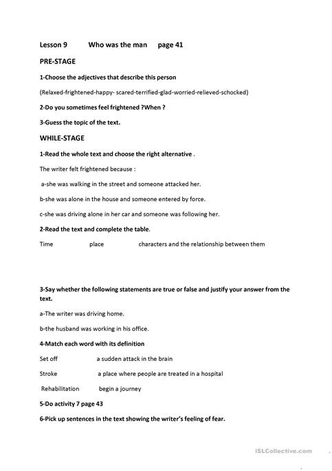 lesson 9 who was the man ?1st year secondary education worksheet ...