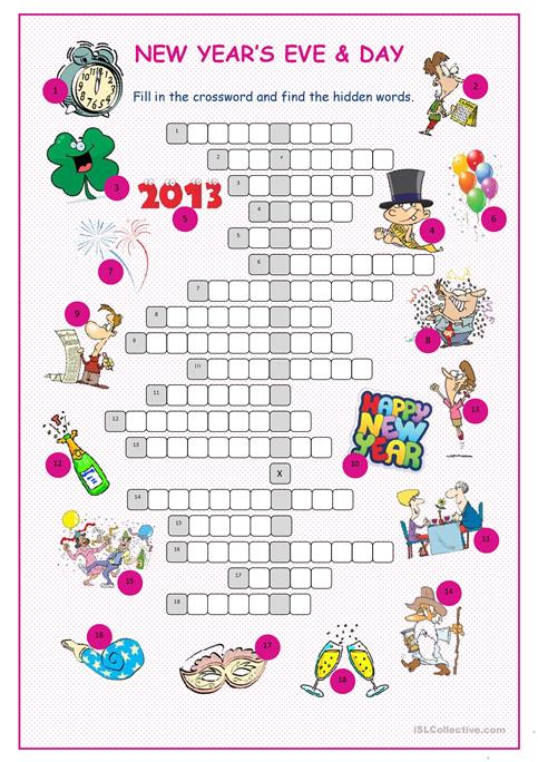 New Year\'s Eve &Day Crossword Puzzle worksheet - Free ESL ...