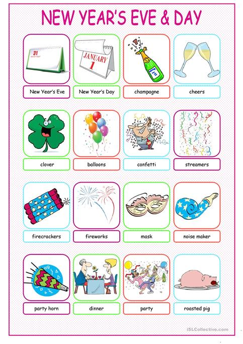 New Year\'s Eve &Day Pictionary worksheet - Free ESL printable ...