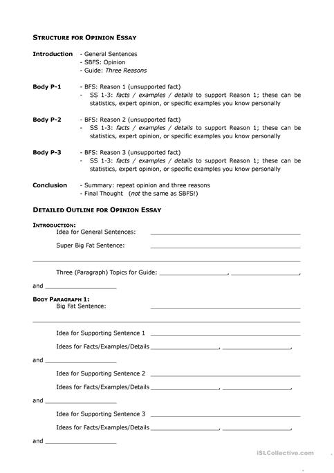 Opinion Essay Outline Worksheet  Free Esl Printable Worksheets Made