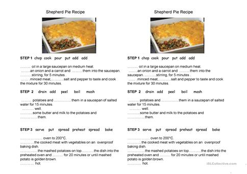 Shepherd pie recipe worksheet free esl projectable worksheets shepherd pie recipe forumfinder Choice Image