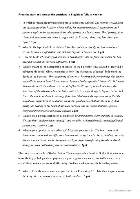 Tell Tale Heart - Questions and answers worksheet - Free ESL ...