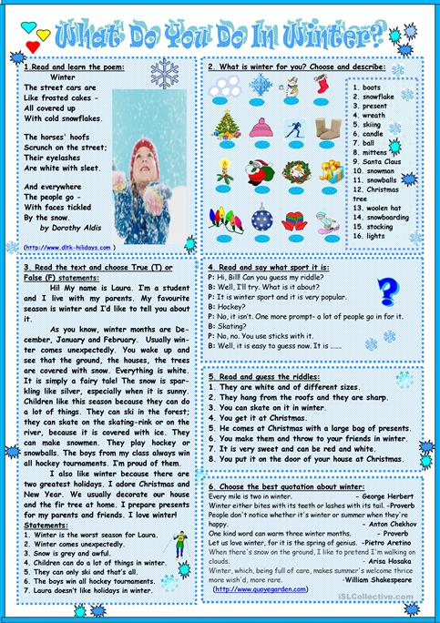 What do you do in winter? worksheet - Free ESL printable worksheets ...