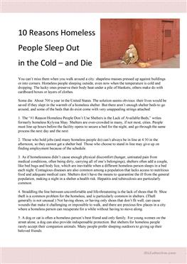an analysis on why people are homeless What's more, the news media's approach to reporting on homeless people can  activate disgust, increasing public support for policies that make.