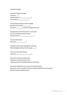 1 free esl leaving message worksheets. Black Bedroom Furniture Sets. Home Design Ideas