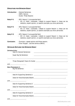 esl outline worksheets opinion essay outline