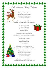 picture relating to Lyrics to We Wish You a Merry Christmas Printable known as Xmas Card Match - English ESL Worksheets