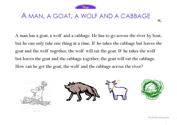 A man, a wolf, a goat and a cabbage