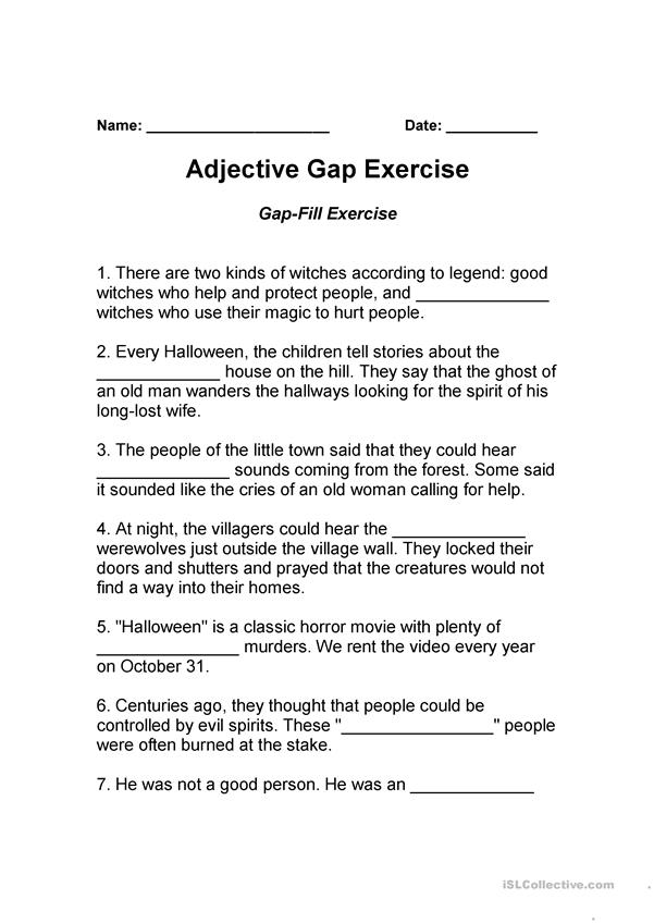 Adjective Gap Exercise
