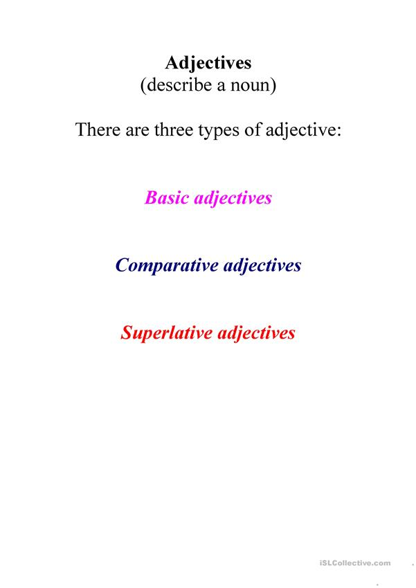Adjectives guidance