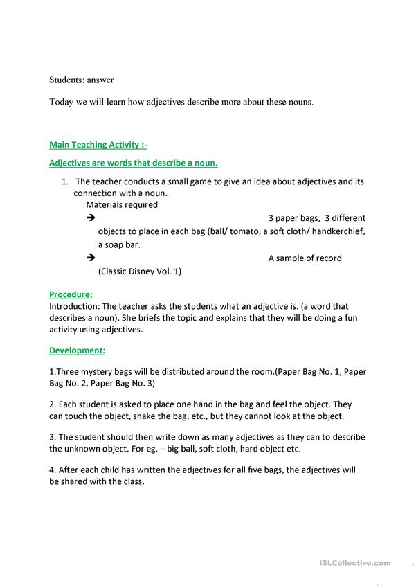 Adjectives Lesson Plan And Worksheet Color English ESL