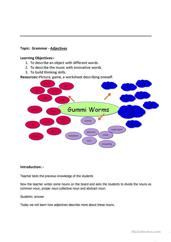 adjectives lesson plan and worksheet