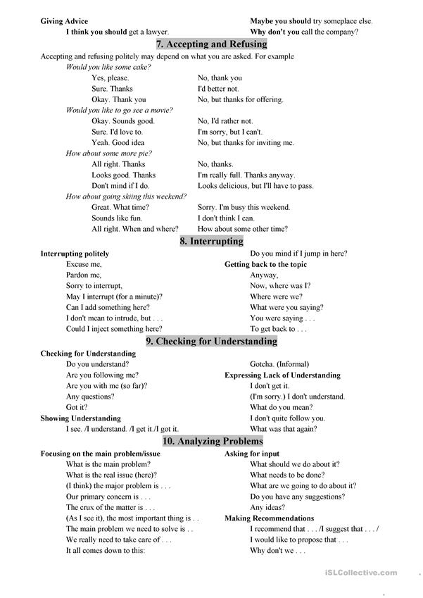 basic conversational phrases