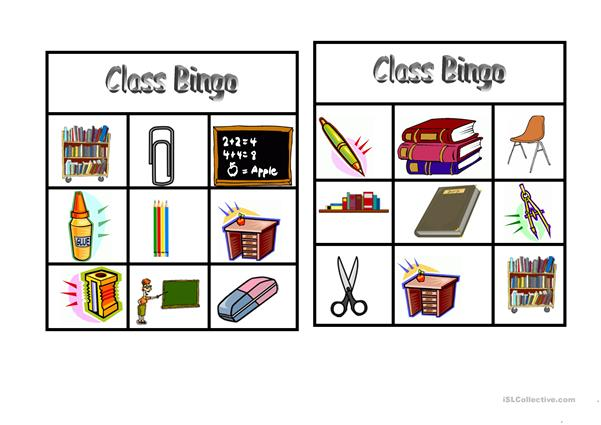 Bingo: Classroom vocabulary