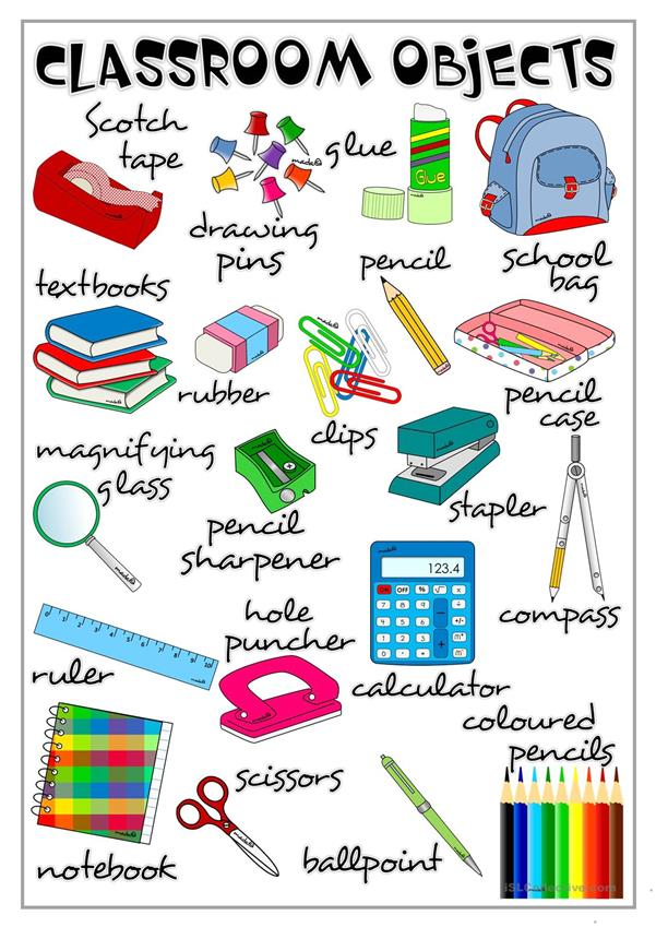 Clasroom objects - poster
