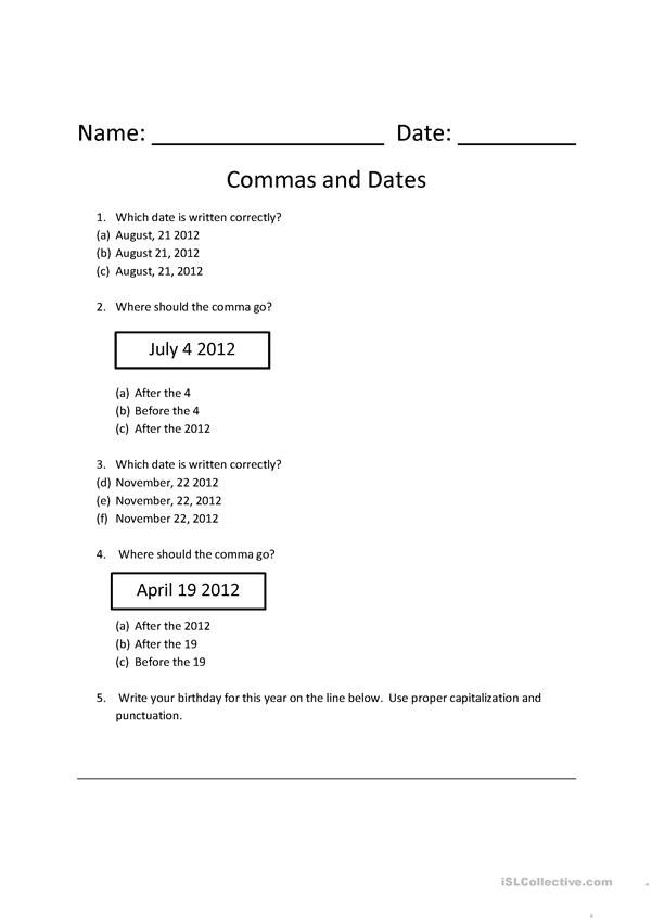 commas and dates