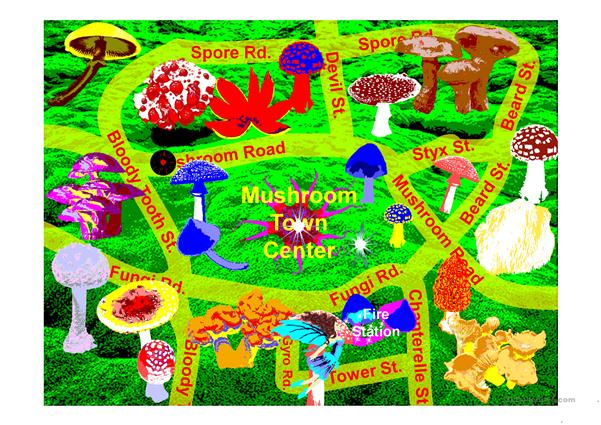 Directions find the places in Mushroom City