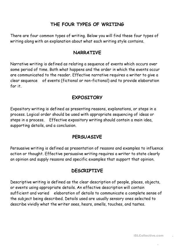 Four Types of Writing